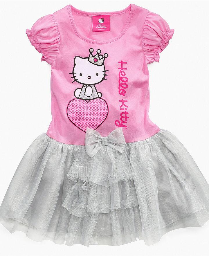 Hello Kitty Girls Dress, Little Girls Tutu Ruffle Dress