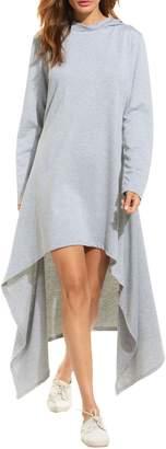 Meaneor Women Drawstring Hooded Cloak Cape Asymmetrical Hem Hoodie Dress