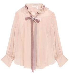 See by Chloe Pussy-Bow Ruffle-Trimmed Georgette Blouse