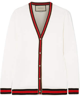 Gucci Striped Wool Blend-trimmed Wool Cardigan - Ivory