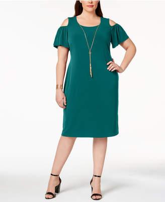 JM Collection Plus & Petite Plus Size Cold-Shoulder Dress, Created for Macy's