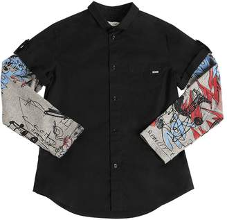 John Galliano Poplin & Printed Jersey Shirt