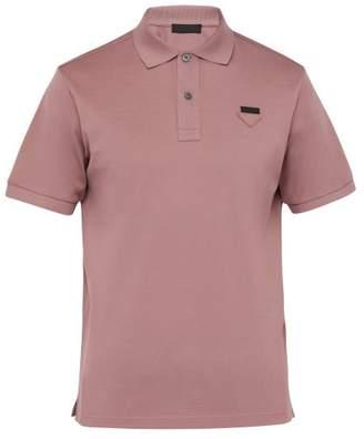 Prada Conceptual Triangle Logo Cotton Pique Polo Shirt - Mens - Pink
