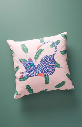 Anthropologie Cassie Embroidered Cat Accent Pillow