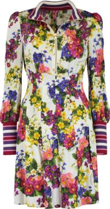 Dolce & Gabbana Knit Cuff Floral Dress