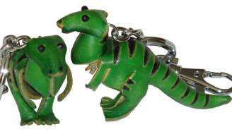 BPLeathercraft A pair of leather Bag-charms/Key-Chain (2 of them),Dinosaur T-Rex pattern