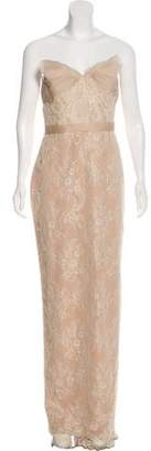Marchesa Lace Strapless Evening Gown