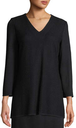 Misook V-Neck 3/4-Sleeve Wool-Blend Sweater