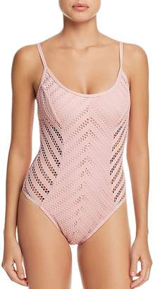 Kenneth Cole Lace High Leg One Piece Swimsuit