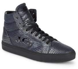 John Galliano Hi-Top Leather Logo Sneakers