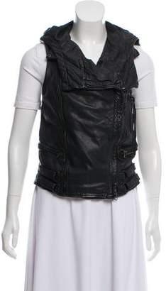 AllSaints Hooded Leather Vest