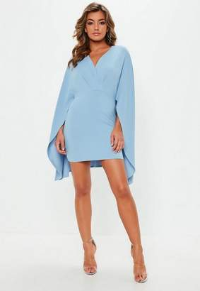 Missguided Blue Plunge Cape Dress