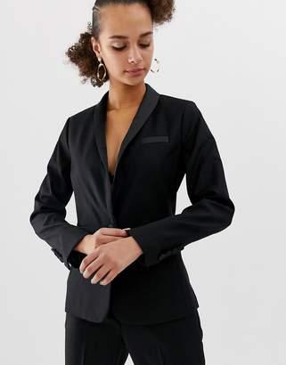 New Look satin tux blazer in black
