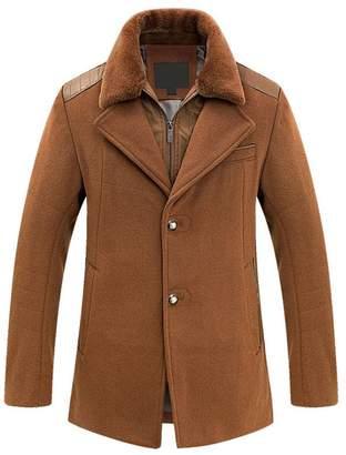Blend of America OCHENTA Men's Slim Fit Winter Wool Peacoat Overcoat Black US L - Asian 3XL