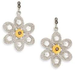 Coomi Silver Opera Diamond, Crystal, 20K Yellow Gold& Sterling Silver Flower Drop Earrings