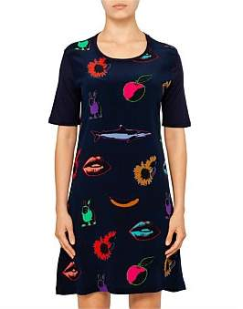 Paul Smith Womens Dress Pop Art Print Dress Navy