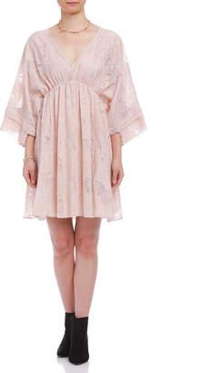 Blumarine (ブルマリン) - Blumarine フラワーレース ギャザー インナー付 ドレス ピンク 38