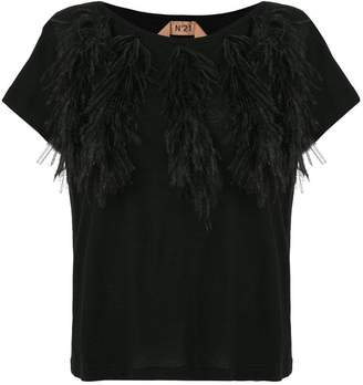No.21 feather detail T-shirt