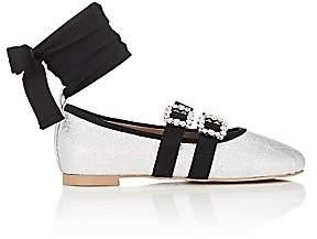 Helena & Kristie Women's Rachel Buckle-Strap Metallic Leather Flats - Silver