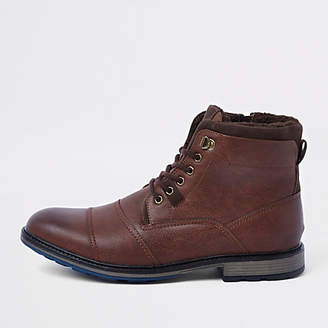 River Island Brown lace-up fleece lined military boots