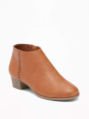 Old Navy Faux-Leather Side-Stitch Ankle Boots for Girls