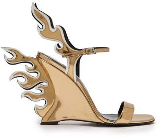 Prada Flame Patent Leather Sandals - Womens - Gold