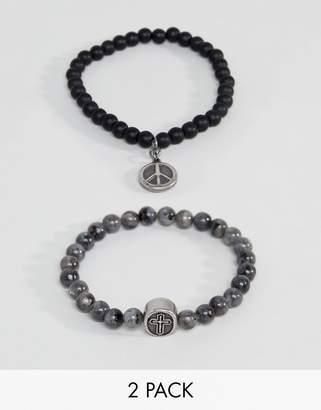 Seven London Black & Gray Beaded Bracelet In 2 Pack