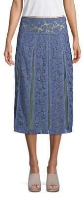 Valentino Silk Lace Midi Skirt