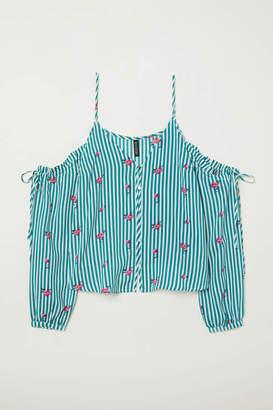 H&M Open-shoulder Blouse - Green/white striped - Women