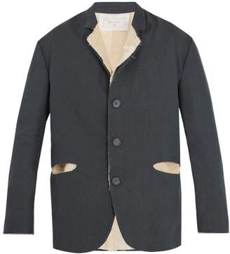 By Walid - Exposed Seam Linen Blend Jacket - Mens - Grey