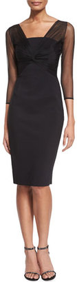 La Petite Robe di Chiara Boni Rosemarie 3/4-Sleeve Mesh-Top Dress $695 thestylecure.com