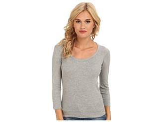Three Dots 100% Cotton Heritage Knit 3/4 Sleeve Scoop Neck