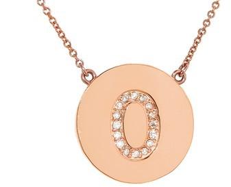Jennifer Meyer Diamond Letter Necklace - O - Rose Gold