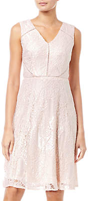 Adrianna Papell Lace Overlay Flared Dress, Blush/Almond