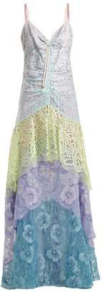 Peter Pilotto Tiered Floral Lace Slip Dress - Womens - Pink