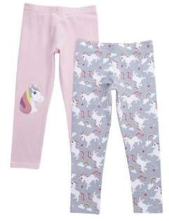 F&F 2 Pack Of Unicorn Leggings 2-3 years