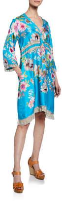 Johnny Was Rayne Floral-Print V-Neck 3/4-Sleeve Heavy Silk Twill Dress
