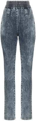 Miu Miu high-waisted elasticated cuff jeans