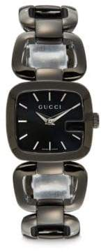 Gucci Blackened Stainless Steel Square Link Watch