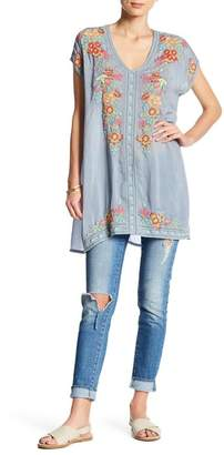 Johnny Was Embroidered Floral V-Neck Tunic