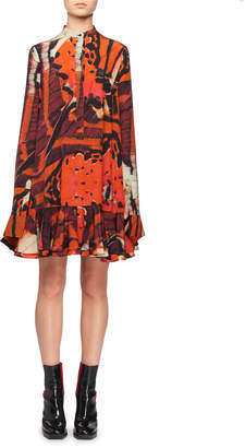 Alexander McQueen Mandarin-Collar Long-Sleeve Tiger Butterfly-Print Silk Mini Dress