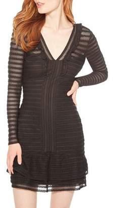 Parker Cozumel Textured Long-Sleeve Ruffle Dress