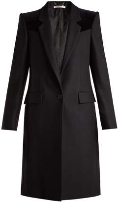 Givenchy Velvet-trimmed wool-blend coat