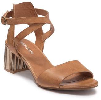Antelope Leather Ankle Wrap African Wood Heeled Sandal