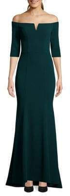 Betsy & Adam Off-The-Shoulder Scuba Evening Gown