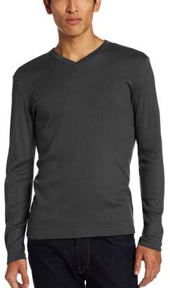 Calvin Klein Men's Long Sleeve Ribbed V-Neck T-Shirt