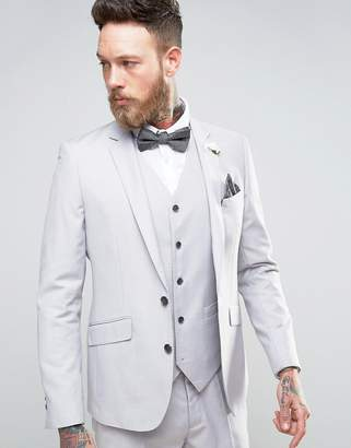 Devils Advocate Wedding Skinny Fit Pale Gray Suit Jacket With Floral Lapel Pin