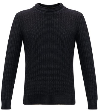Inis Meáin Inis Meain - Linen And Silk Blend Cable Knit Sweater - Mens - Navy