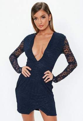 Missguided Navy Lace Plunge Wrap Mini Dress