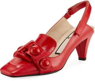 No.21 No. 21 Buckle Slingback Calf Leather Pumps